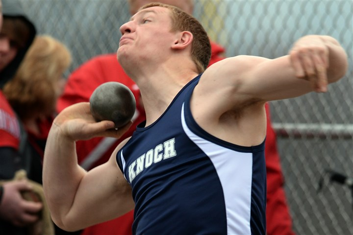 20140411mftracksports01.jpg Knoch freshman Jordan Geist already has surpassed the coveted 60-foot mark in the shot put.
