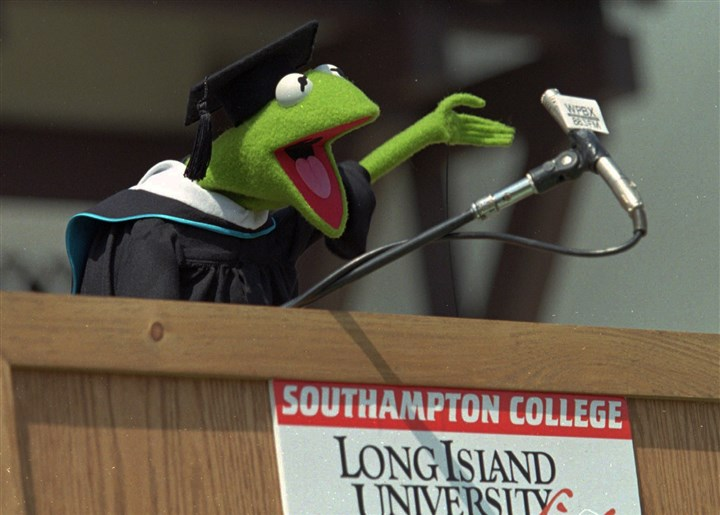 "Kermit the Frog Kermit the Frog addresses the graduates at what was then Southampton College of Long Island University during commencement ceremonies in 1996 in Southampton, N.Y. The Muppets character was awarded an ""honorary doctorate of amphibious letters"" by the college, known for its marine and environmental sciences."