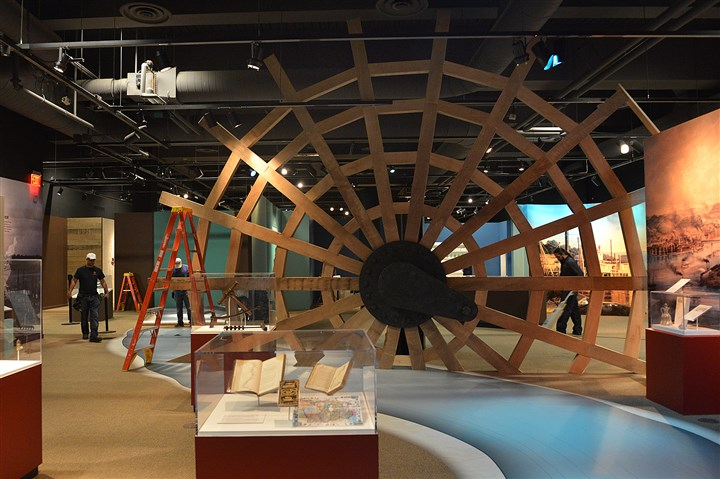 Pittsburgh's Lost Steamboat: Treasures of the Arabia display A representation of a paddlewheel will lead people at the Heinz History Center into the exhibit showing items excavated along with the steamboat Arabia, Thursday.