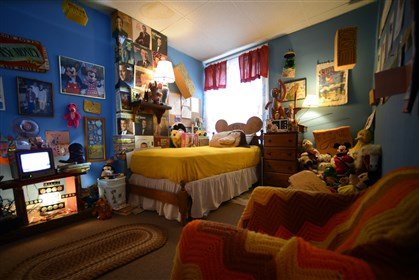 Daniel Pillis' spare bedroom Daniel Pillis' spare bedroom is a scene of transition decorated with his and his mother's childhood toys, from his stuffed animals to her dolls.