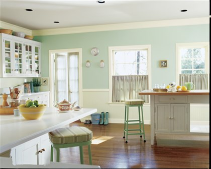 Sherwin-Williams Aloe green paint Sherwin-Williams' Aloe shows off a minty side of green from the new HGTV Softer Side paint collection.