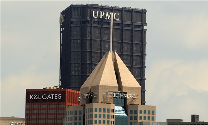 UPMC, Highmark buildings The Fifth Avenue Place headquarters of Highmark in view with the U.S. Steel Tower offices of UPMC, in Downtown Pittsburgh.