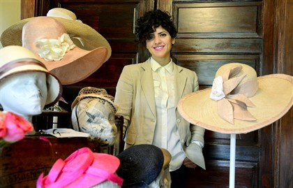 Gina Mazzotta, Pittsburgh-based milliner Gina Mazzotta in her home studio in Baden with some of her hats.