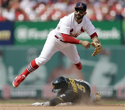 Josh Harrison and Daniel Descalso The Pirates' Josh Harrison is out at second as St. Louis Cardinals second baseman Daniel Descalso turns the double play during the eighth inning.