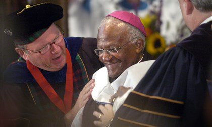 Desmond Tutu in Pittsburgh In a 2007 visit to Pittsburgh, former Anglican Archbishop Desmond Tutu of South Africa was jointly conferred an honorary doctor of humane letters degree by Jared L. Cohon, president of Carnegie Mellon at the time, and University of Pittsburgh chancellor Mark Nordenberg at Calvary Episcopal Church in Shadyside.
