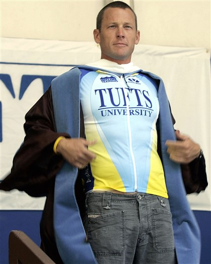Lance Armstrong earns an honorary degree Lance Armstrong shows off Tufts University cycling jersey when the school awarded him with an honorary doctorate of humane letters in 2006. Two years ago, the school of rescinded the award after a disgraced Armstrong was stripped of his Tour de France victories over a doping scandal.