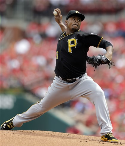 Pirates pitcher Edinson Volquez The Pirates' starting pitcher Edinson Volquez throws during the first inning.