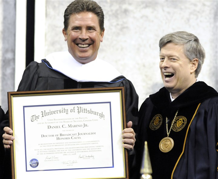 Dan Marino earns honorary degree Dan Marino with Pitt chancellor Mark Nordenberg after receiving an honorary doctor of broadcast journalism degree in 2008. It was the second Pitt degree for Mr. Marino, a football star there. In 1983, he earned a bachelor's in communication science before embarking on a Hall of Fame career as quarterback of the Miami Dolphins.