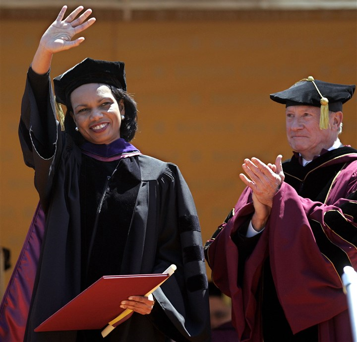 Condoleezza Rice receives an honorary degree Former U.S. Secretary of State Condoleezza Rice received an honorary degree at Boston College's 130th commencement in 2006.