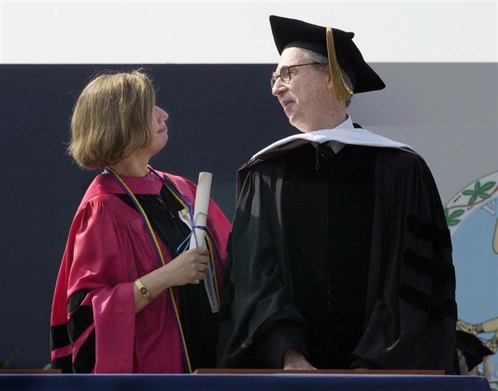 "Fred Rogers receives honorary degree Fred Rogers of ""Mister Rogers' Neighborhood"" received an honorary degree from Old Dominion University in Norfolk, Va., in 2000."