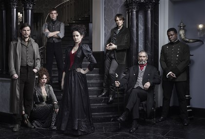 "20140509HOPennyDreadful2-1 The cast of ""Penny Dreadful"" from left, Josh Hartnett, left, as Ethan Chandler, Billie Piper as Brona Croft, Harry Treadaway as Dr. Victor Frankenstein, Eva Green as Vanessa Ives, Reeve Carney as Dorian Gray, Timothy Dalton as Sir Malcolm and Danny Sapani as Sembene."