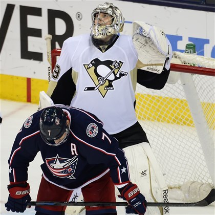 20140428pdPenguinsSports05 Marc-Andre Fleury watches the scoreboard as time expires in Game 6. The Penguins defeated the Blue Jackets, 4-3, to win the series, 4-2.