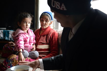 Bishnu Maya Poudel and family Bishnu Maya Poudel, 68, sits with her granddaughter Perika, 4, and Kawal Poudel at her son's home Monday in Carrick. Ms. Poudel was issued an order to vacate her long-troubled apartment complex by the Allegheny County Health Department.