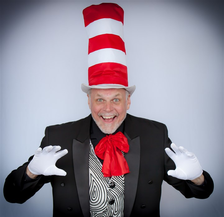 "20140428hostages0430mag7829 Tim Hartman is The Cat in the Hat for Pittsburgh Musical Theater's ""Seussical"" opening May 1 at the Byham Theater, Downtown."