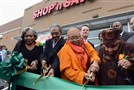 Hill District residents, from left, Pat and Clyde Hefflin, Carolyn Gray, and her mother,105-year-old Lillian Allen, cut the ribbon to open the long-awaited Shop 'n Save on Centre Avenue. The area has been without a grocery store for decades.