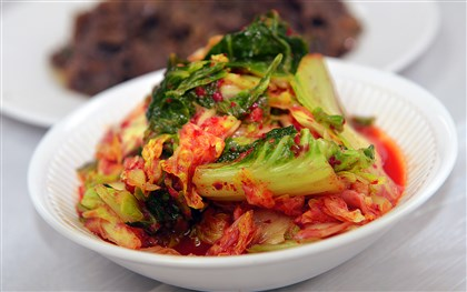 20140429lrkoreafood04-3 Kimchi, the Korean spicy pickled cabbage during prep for the upcoming Korean Food Bazaar.