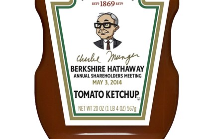 20140430hobiz0501charlie A special H.J. Heinz ketchup bottle featuring a drawing of Charlie Munger will be sold at this weekend's Berkshire Hathaway annual meeting.