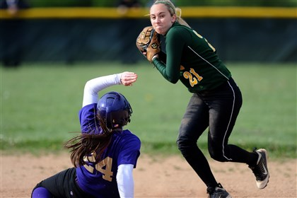 9f800kpq.jpg After forcing out Plum's Rachael Adamski at second base, Penn-Trafford shortstop Ashley Yanniruberto tries for a double-play during a playoff game last season.