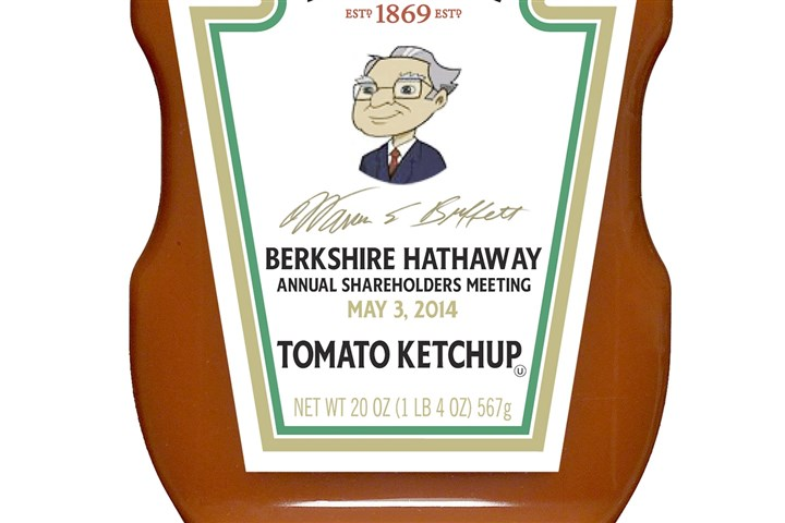 20140430hobiz0501warren-1 A special H.J. Heinz ketchup bottle featuring a drawing of Warren Buffett will be sold at this weekend's Berkshire Hathaway annual meeting.