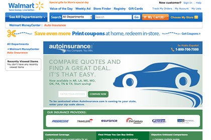 Wal-Mart Auto Insurance This framegrab of the Wal-Mart website shows the auto insurance shopping page.