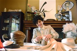 Pittsburgh-based milliner Gina Mazzotta makes a hat at her home studio. She moved her studio from Downtown Pittsburgh to East Liberty.