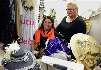 20140429lfHatsMag04 B.J. Herr and Eileen Sieff Stroup work together designing costumes and hats at Ms. Herr's studio in Butler.
