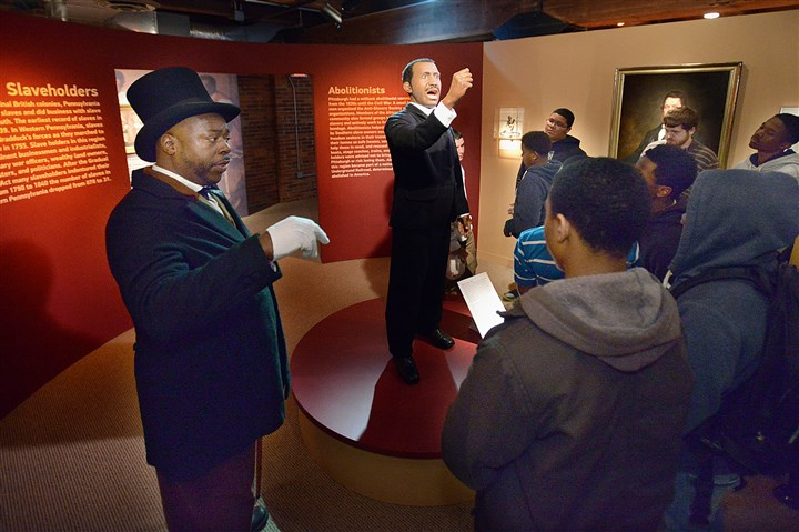 Volunteer docent Jeffrey Burton Volunteer docent Jeffrey Burton acts the part of Pittsburgh abolitionist Dr. Martin Delany as he guides students from the Student Achievement Center in Homewood through the African-American exhibit at the Heinz History Center in Pittsburgh's Strip District.