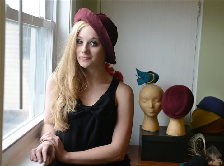 Theresa Baughman, Pittsburgh-based milliner Theresa Baughman with her hats at her Bloomfield studio.