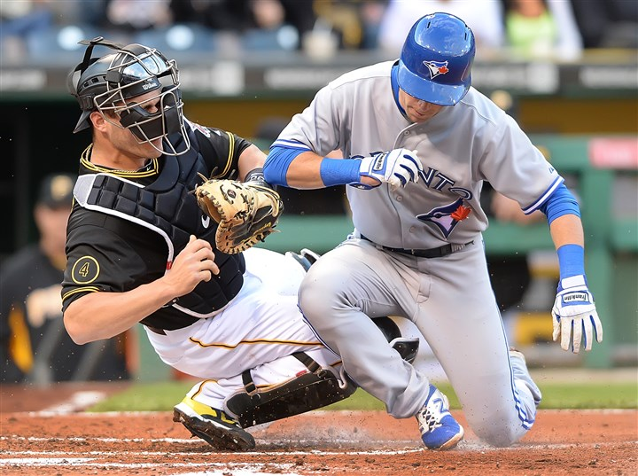 Catcher Tony Sanchez tags Blue Jays Steve Tolleson Catcher Tony Sanchez tags Blue Jays Steve Tolleson out Saturday night at PNC Park.