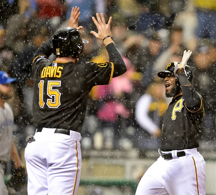 Josh Harrison is greeted at home by Ike Davis Josh Harrison is greeted at home by Ike Davis after Neil Walker broke the 6-6 tie with a double against the Blue Jays Saturday at PNC Park,