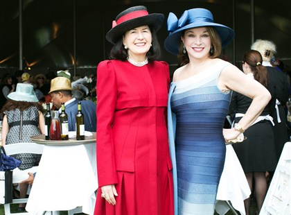 Spring Hat Luncheon Ellen Roth with Catherine Loevner (wearing Herve Leger).