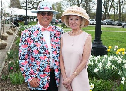 Spring Hat Luncheon John Peterman in vintage Lilly smiles for the camera with wife, Donna Peterman.