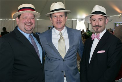 Spring Hat Luncheon Joe Tambellini with Patrick Moore and Joaquin Navarro. #SEENmeninhats
