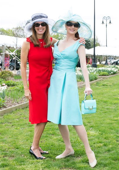"Spring Hat Luncheon Vice chair Cindy Gerber (in Christian Dior) with Melanie Crockard. ""Our parks are a tremendous resource that all walks of life can have the opportunity to enjoy,"" said Mrs. Gerber."