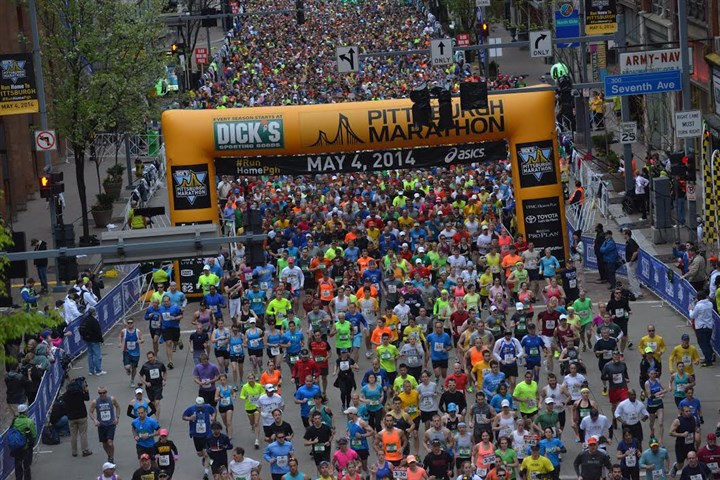 Pittsburgh Marathon has begun The 2014 Pittsburgh Marathon started as scheduled this morning.
