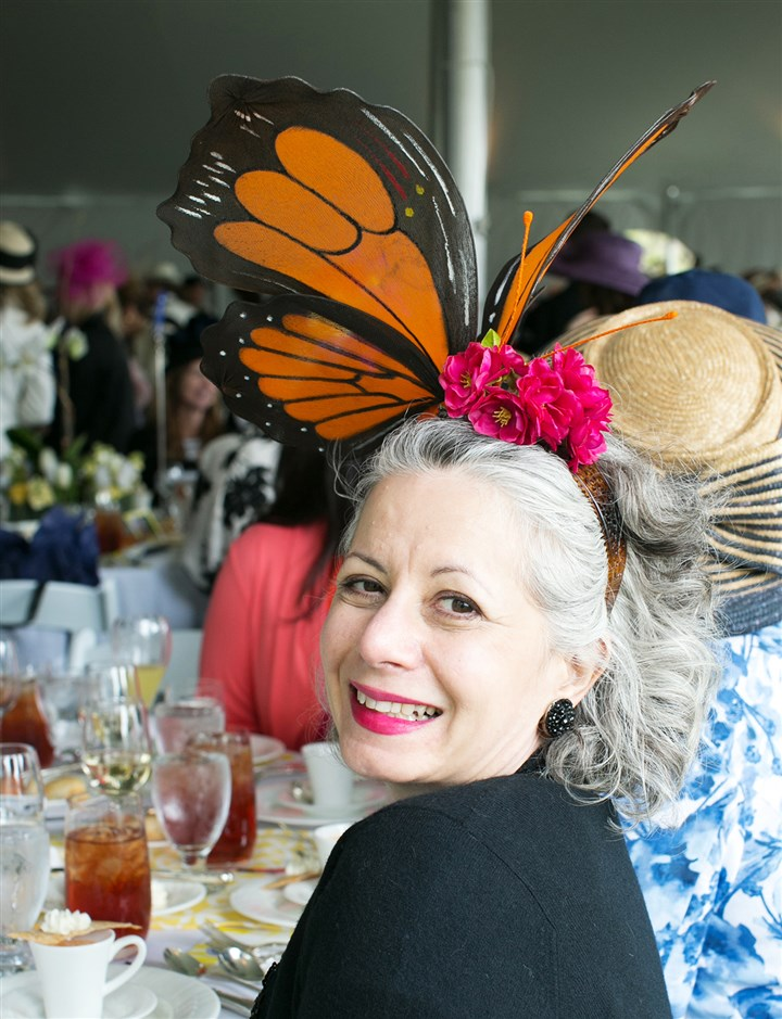 Spring Hat Luncheon Kim Honath wearing a custom designed hat by Carmel Vandale of Mt. Lebanon. (Sara's pick for best hat. #SEENhatrace)