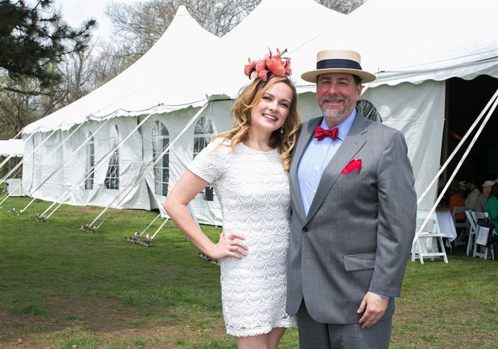 "Spring Hat Luncheon Caitlin Lasky with Mayor Bill Peduto (vintage hats and styling by Richard Parsakian of Eons). ""We are creating a system of parks where other cities look to us and say, 'Hey we want to be like that,'"" said Mayor Peduto."