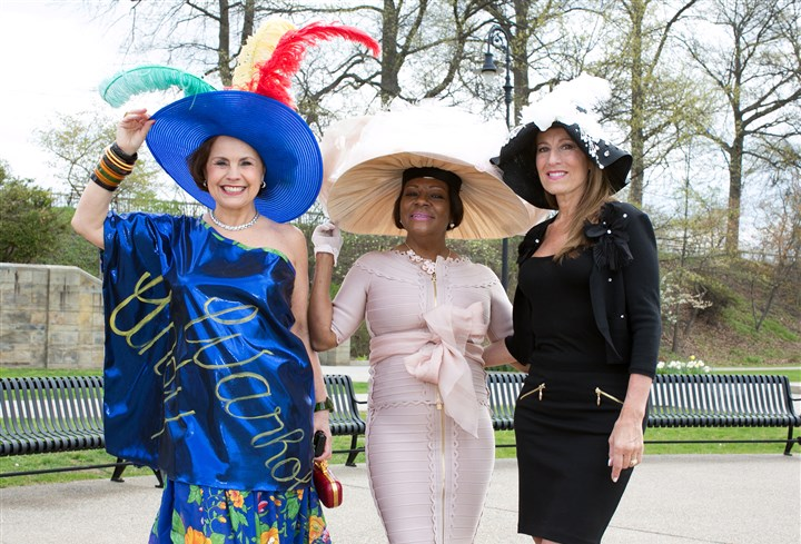 Spring Hat Luncheon From left, Lana Neumeyer, Peggy Harris and Roseanne Wholey prove that when it comes to hats, bigger is better!