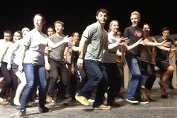 "The cast of Woodland Hills' ""Sweeney Todd"" in rehearsal for their spring 2014 musical."