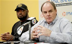 Steelers coach Mike Tomlin and general manager Kevin Colbert.