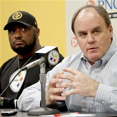 20140505_SteelersDraft001 Steelers head coach Mike Tomlin and general manager Kevin Colbert speak to the media during a pre-draft press conference at the Steelers South Side training facility.