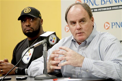 The Colbert Report Steelers coach Mike Tomlin and general manager Kevin Colbert speak to the media during a pre-draft press conference at the Steelers South Side training facility on Monday, May 5, 2014.
