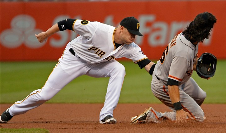 20140505mfbucssports01 Pirates' Clint Barmes tags out Giants' Angel Pagan on a steal attempt in the first inning at PNC Park earlier in the season. Barmes was placed on the 15-day disabled list because of an injury to his left groin.