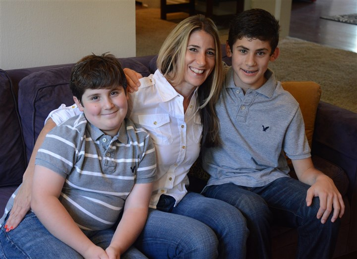 Rachel Blaufeld with her sons Blake and Jackson Rachel Blaufeld, 39, of Point Breeze with her sons, Blake, 11, left, and Jackson, 13.