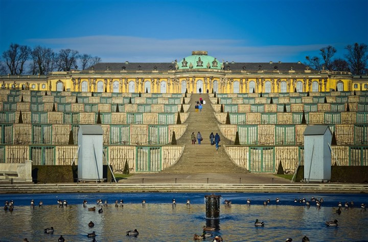 Frederick the Great's summer palace Frederick the Great's summer palace sits atop six tiers of gardens. The original schloss was done to resemble Versailles.