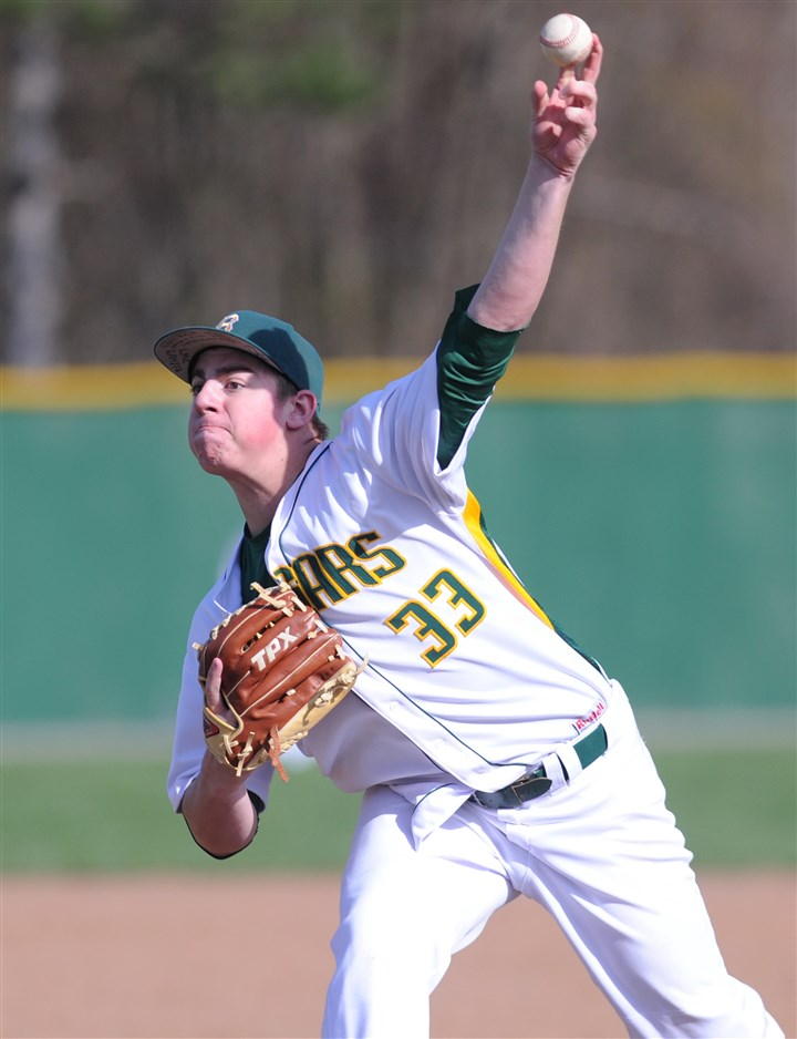 brendanmckay0507b Blackhawk pitcher Brendan McKay shuts out Montour, 3-0, to extend his scoreless inning streak to 58 innings.