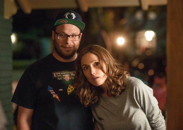 "20140509Neighbors3-1 Seth Rogen and Rose Byrne star as Mac and Kelly Radner in ""Neighbors."""
