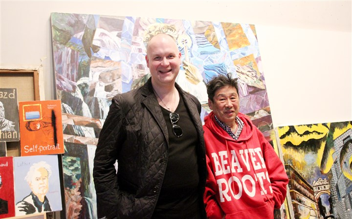 "Eric Shiner and Tadanori Yokoo Eric Shiner, director of The Andy Warhol Museum, with artist Tadanori Yokoo, often called ""the Andy Warhol of Japan,"" in his Tokyo studio."