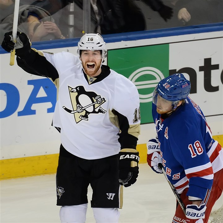 20140507pdPenguinsSports10-2 Pittsburgh Penguins James Neal celebrates in front of Rangers Marc Staal after goal by Jussi Jokinen the Rangers at Madison Square Garden May 7 in New York.