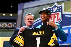 Ryan Shazier poses with NFL Commissioner Roger Goodell after he was picked No. 15 overall by the Steelers in the 2014 NFL Draft.